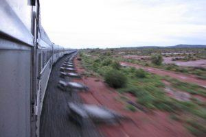 train speeding through the outback shows me that time slows down while traveling
