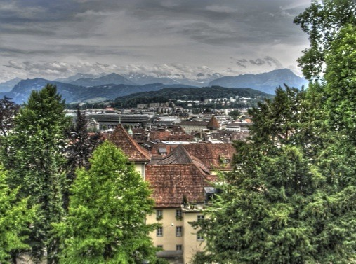 Lucerne's greenery, from the old city wall