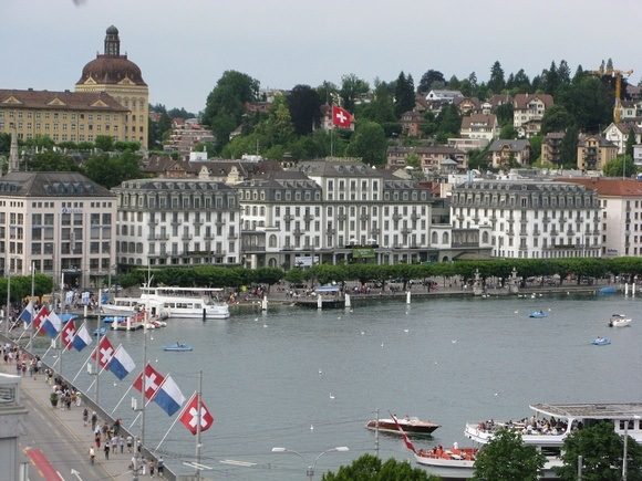 """View from the top of """"downtown"""" Lucerne"""