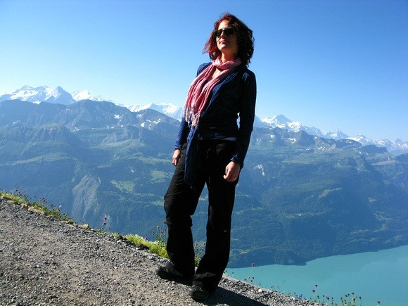 Me modeling the Cosima Cozy Coverup on a mountain. This travel clothes brand is durable!