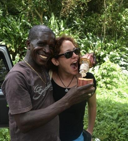 Sampling Cocoa at Sulphur Springs