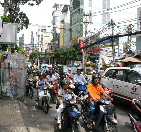 Chaotic Scooter-riding in Saigon