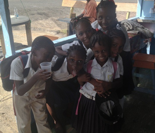 is Grenada safe? Oh yes! Kids playing for the camera