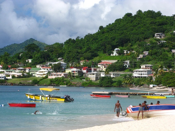 Grand Anse Beach, with fishing boats in the water