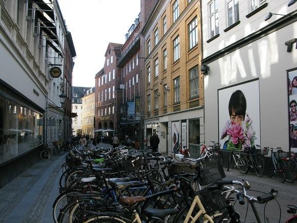Bicycle parking in Stroget Copenhagen