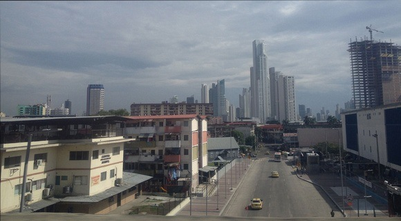 Panama city with low income low rises in foreground and skyscrapers in background