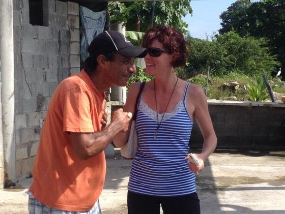 The Professional Hobo greeting her friend Ricardo in Panama