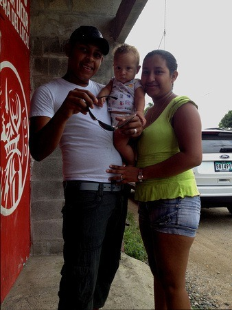 Papi's son with his wife and baby