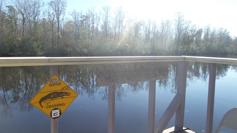 Gator Crossing sign next to Florida river