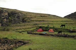 camping at Incan ruin site in the Andes of Peru
