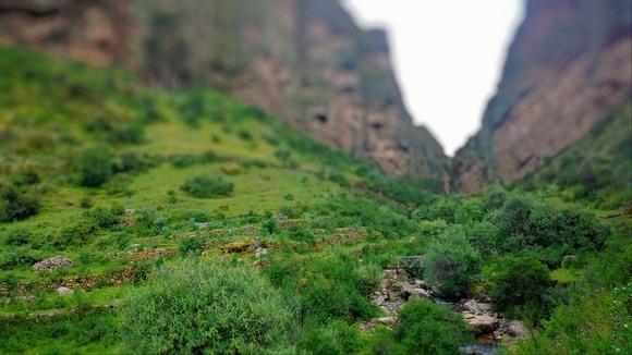 Inca trail through a canyon