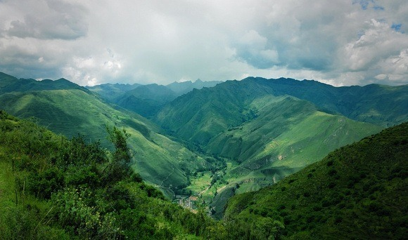 green mountains as seen from way above the Sacred Valley