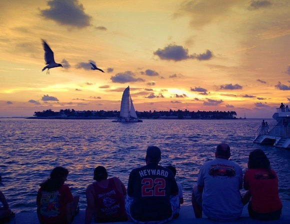 watching the sunset over the ocean with a sailboat and seagulls, in Key West, Florida Keys