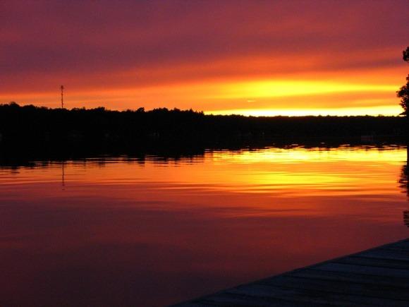 An epic orange Sunset over Lake Muskoka