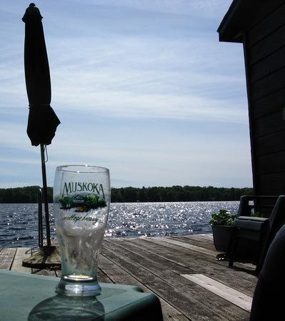 Muskoka glass down by the dock