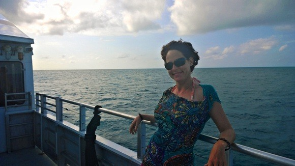Nora Dunn on a boat enroute to Dry Tortugas National Park, Florida Keys