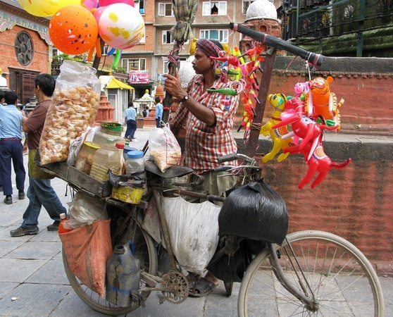 Vendor with a bicycle in Kathmandu Nepal