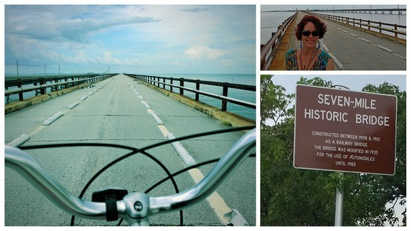 taking a bicycle across Seven Mile Bridge, Florida Keys