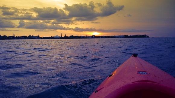 red kayak on the ocean near Big Pine Key, Florida Keys