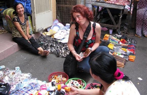 negotiating at a street market in Vietnam