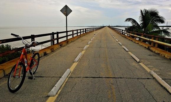 bicycle on abandoned historic bridge in Florida Keys