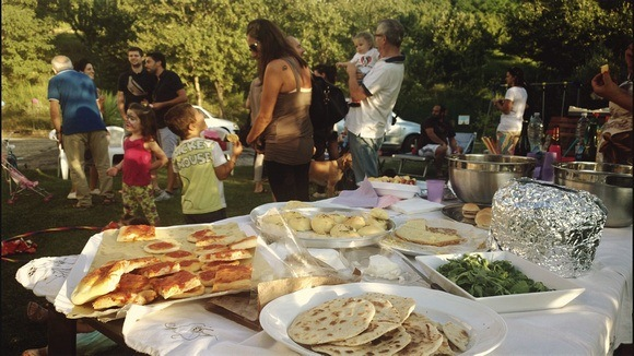 Local Italy backyard party with food in Pesaro