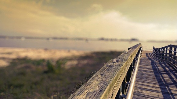 Wooden bridge to beach in Gulfport Florida