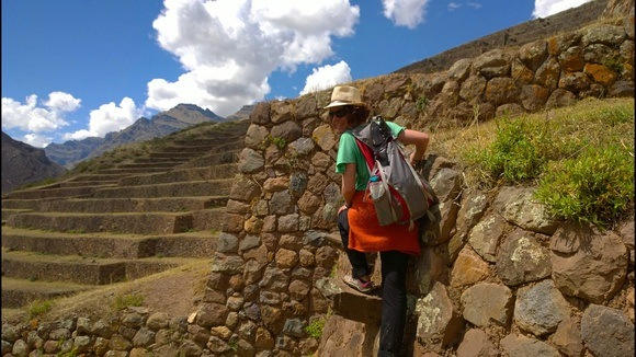 The Professional Hobo climbing the steep terraces in Peru