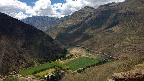 View of the Sacred Valley from above, at the Pisac Ruins