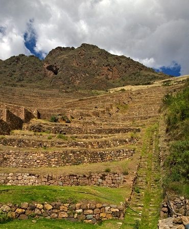 Steep terraces on the way up to the Pisac Ruins (Intuitana)