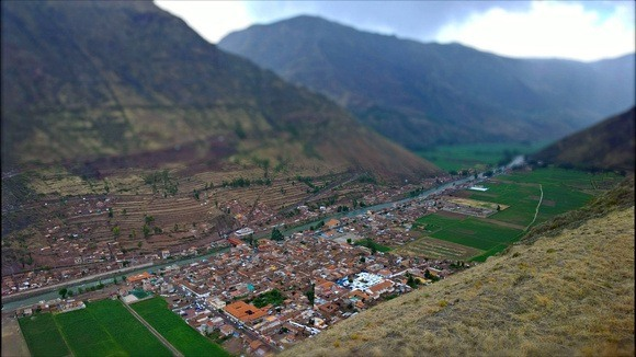 View of Pisac and the Sacred Valley of Peru from the Pisac Ruins high above
