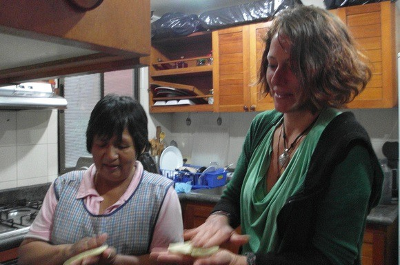 learning to make Colombian arepas