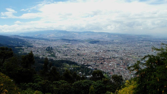 Panorama of Bogota from Monserrat – a must-visit place while in Bogota. Beware of Bogota Colombia safety - but don't worry too much.