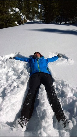 The Professional Hobo making a snow angel