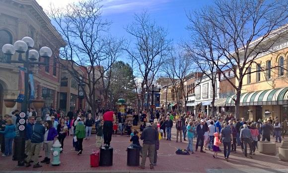 The Pearl Street Mall pedestrian area in Boulder Colorado