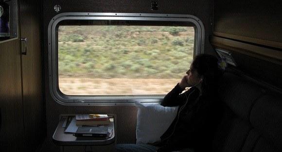 Nora Dunn on a train in Australia