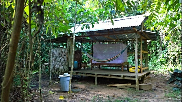 My tambo for my month in the jungle. Note the distinct lack of walls.