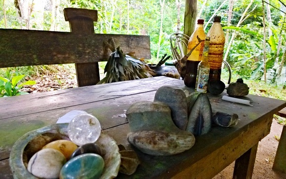 ayahuasca ceremony table in the jungle