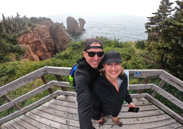 Dalene and Pete Heck selfie in Nova Scotia, while running their media marketing company