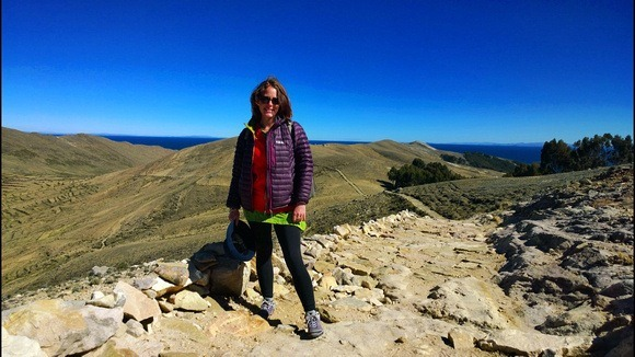 The Professional Hobo at Isla Del Sol at 4,000 metres above sea level