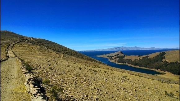 The trail across Isla Del Sol in Bolivia