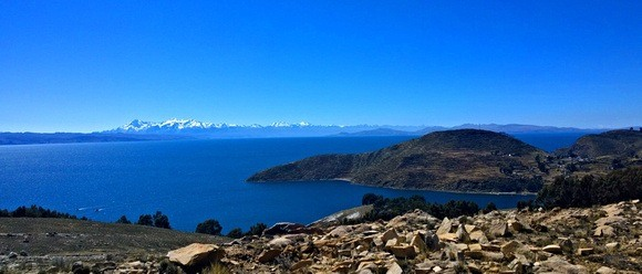 The view of the bolivian mainland from Isla Del Sol
