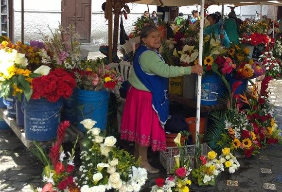 flower vendor at the market