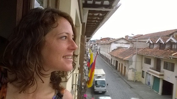 leaning out my window in Cuenca Ecuador