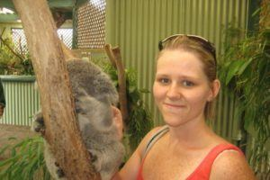 Rebecca of Creative Nomad with a koala
