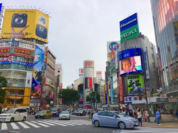 Shibuya crossing with traffic
