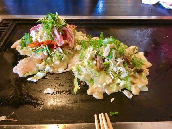 okonomiyaki being prepared