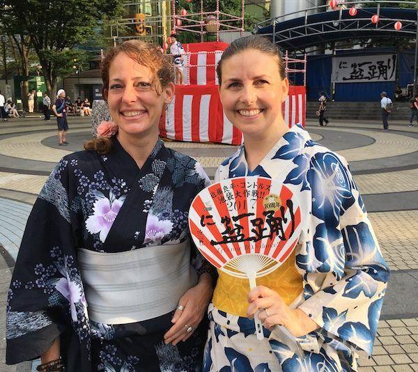 ready for New Bon Odori, dressed in kimonos