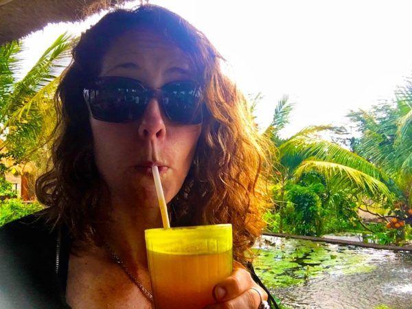 drinking juice at Karsa Cafe