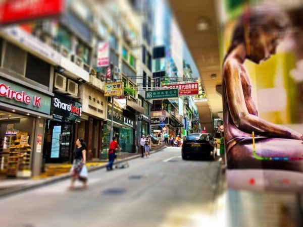 shopping in the central district of Hong Kong